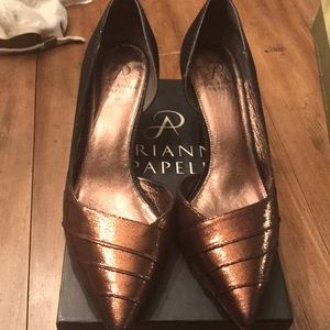 Bronze and Sparkly Black Dress Pumps